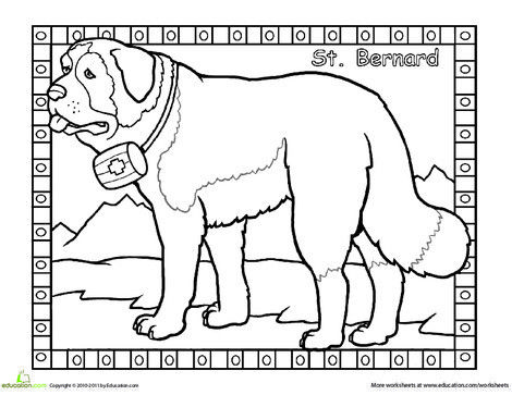 First Grade Coloring Worksheets St Bernard Coloring Page Cat Coloring Book Dog Coloring Page Puppy Coloring Pages