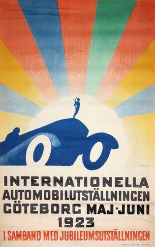 Internationella Automobilutstallning Goteborg 1923 Sweden Vintage Posters Automobile Exhibition Poster