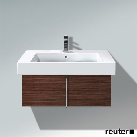 Duravit Vero Wall-Mounted Vanity Unit Dark Chestnut | Wang