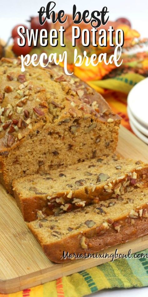 bread recipes sweet This Sweet Potato Pecan Bread is perfect for the fall and holiday season. Plus, it's a simple homemade bread recipe that's packed full of taste and flavor! Dessert Bread, Dessert Recipes, Diet Desserts, Sweet Potato Pecan, Vegan Sweet Potato Bread Recipe, Cheesy Beer Bread Recipe, Canned Sweet Potato Recipes, Sweet Potato Pancakes, Sweet Bread