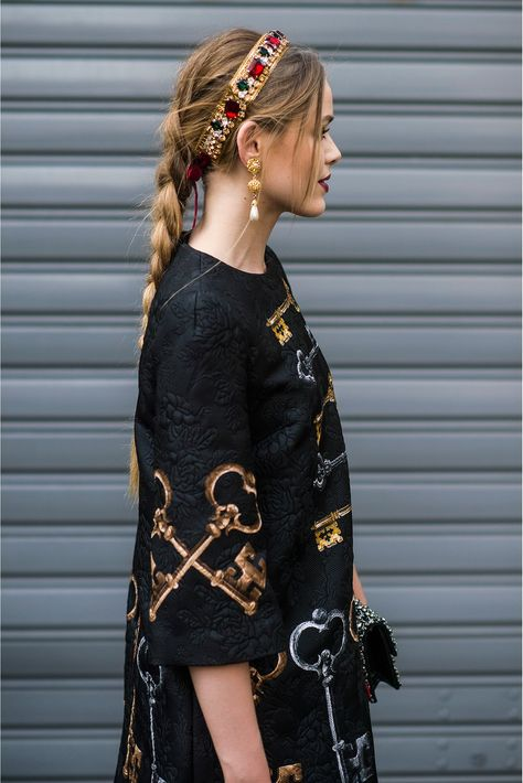 Hair Inspiration for the New Year Dress up your messy braid with a jeweled headband fit for a princess.