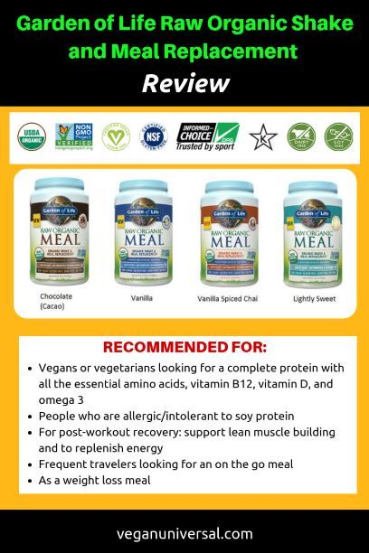 Garden Of Life Raw Organic Protein Powder Shake Meal Replacement