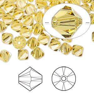 144 Swarovski 5328 Crystal XILION Bicone Beads Jewelry Making 4mm LIGHT SIAM AB