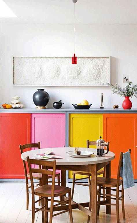 Can't decide on one color? Pick them all! #cabinets #color #kitchen