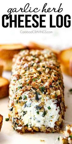 Garlic Herb Cheese Log 10 Minute prep creamy, savory Garlic Herb Goat Cheese Log is the EASIEST yet most impressive appetizer you will ever make! It can be made in advance so it's the perfect appetizer for all your special occasions and parties! Appetizers For A Crowd, Yummy Appetizers, Appetizer Recipes, Goat Cheese Appetizers, Easter Recipes, Breakfast Appetizers, Popular Appetizers, Appetizer Party, Food For A Crowd