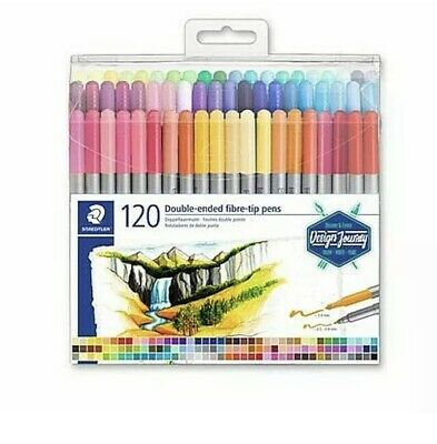 Staedtler 3200 120 Double Ended Fibre Tip Pens Marker Set New 3 0