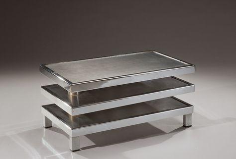 Maria Pergay Dans Le Gout De Table Basse A Armature En Metal