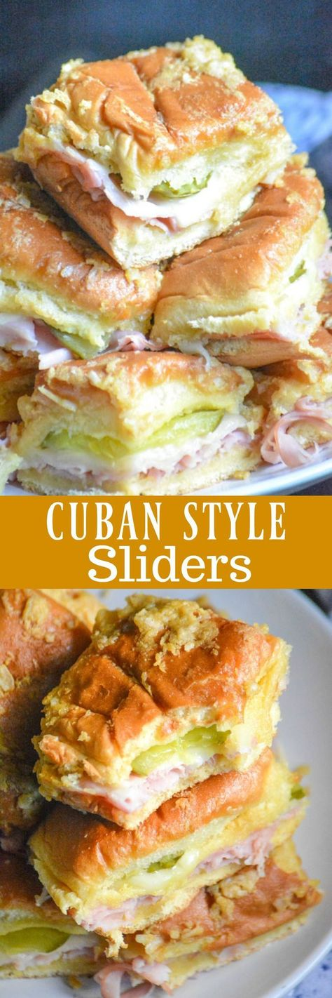 ~Cuban-Style Sliders~ the perfect finger food for game day or casual get-togethers. Sweet Hawaiian rolls, layers of deli ham, melted Swiss, and crisp dill pickles, are sandwiched in between toasted buns spread with a buttery mustard onion spread. Cuban Recipes, Jalapeno Recipes, Cake Recipes, Party Recipes, Sandwich Recipes, Dessert Recipes, Slider Sandwiches, Sandwiches For Dinner, Steak Sandwiches