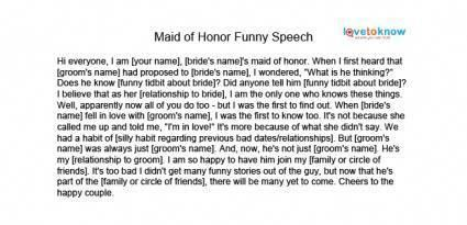 Free Maid Of Honor Speeches Lovetoknow Maid Of Honor Speech Funny Wedding Speeches Wedding Quotes Funny