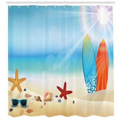 East Urban Home Ambesonne Seashells Shower Curtain Holiday Theme Sunglasses Beach Summer Surfboar Shower Curtain Decor Shower Curtain Sets Bathroom Decor Sets