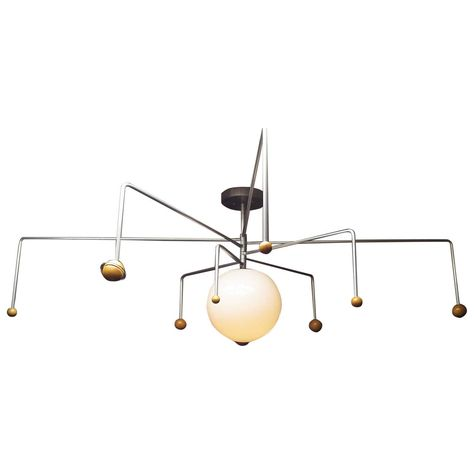 Mid-Century Solar System Ceiling Lamp | From a unique collection of antique and modern chandeliers and pendants  at https://www.1stdibs.com/furniture/lighting/chandeliers-pendant-lights/