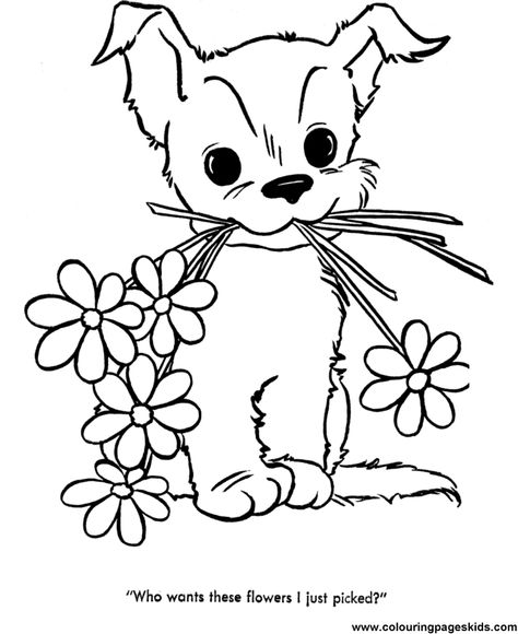 Cute Puppy Image to Print and Color 033 Dog, Printing and Embroidery - best of coloring pages baby dog
