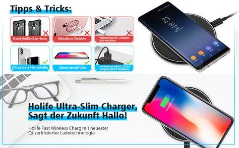 HoLife Fast Wireless Charger Pad bieten Sie ein bequemes und