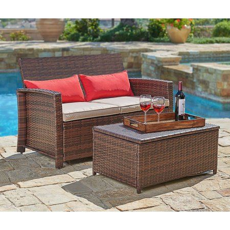Suncrown Outdoor Furniture Wicker Love Seat With Coffee Table 2