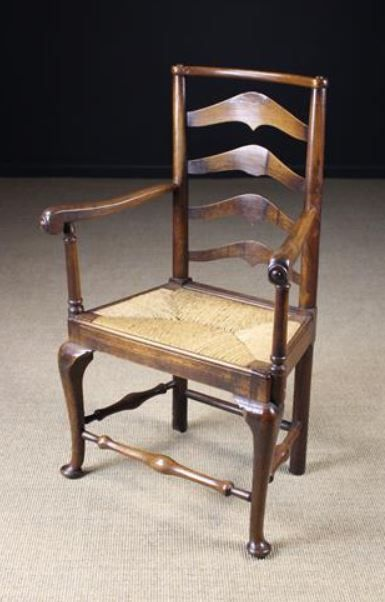 An Unusual Walnut Bar Topped Ladder Back Armchair Armchair Walnut Seating