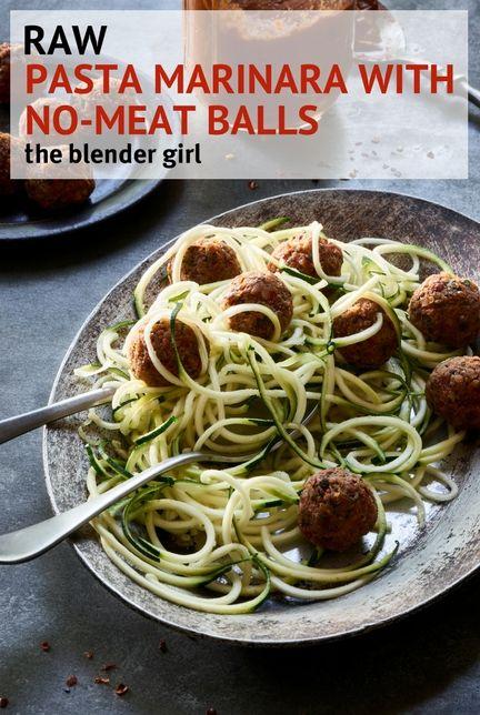 Raw Vegan Zucchini Spaghetti And Meat Balls The Blender Girl Raw Food Recipes Raw Vegan Vegetarian Recipes Healthy