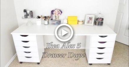 Ikea Alex 5 Drawer Dupe Vanity Vanity Diy Bedroom Bedroom Desk Ikea Ikea Alex