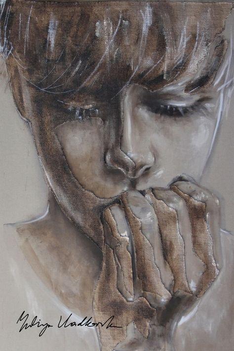 "Saatchi Art Artist: Yuliya Vladkovska; Acrylic 2013 Painting ""to say or not to say"""