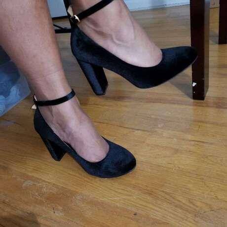 Black Velvet Almond Toe Ankle Strap