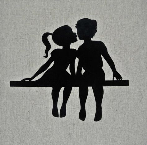 Items similar to Black Flocked Silhouette Pillow Cover, Boy and Girl Silhouette, First Kiss, Valentine, Love, Linen and Cotton on Etsy