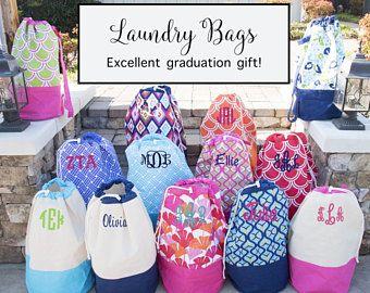 Monogrammed Laundry Bag Graduation Gift Laundry Hamper