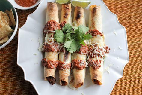Pork Taquitos with Chocolate Mole upclose | HipFoodieMom.com