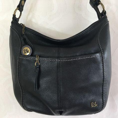 2258012935c The Sak Black PEBBLED Leather Iris Hobo Shoulder Bag Zip Closure ...