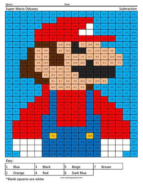 Super Mario Subtraction Coloring Page Anime Dragon Ball Super Mario Perler Bead Patterns