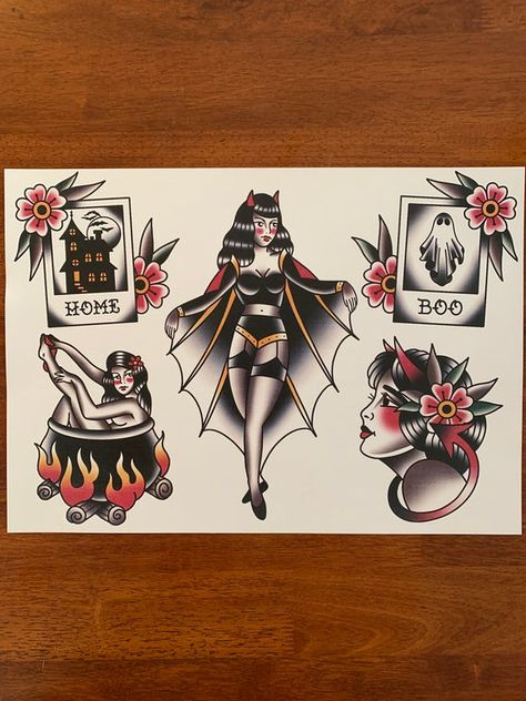 Traditional Halloween tattoo flash printed on thick linen paper, available in and Halloween Tattoo Flash, Cute Halloween Tattoos, Spooky Tattoos, Traditional Tattoo Halloween, Traditional Hand Tattoo, Traditional Tattoo Stickers, Traditional Tattoo Leg Sleeve, Traditional Tattoo Inspiration, Traditional Tattoo Drawings