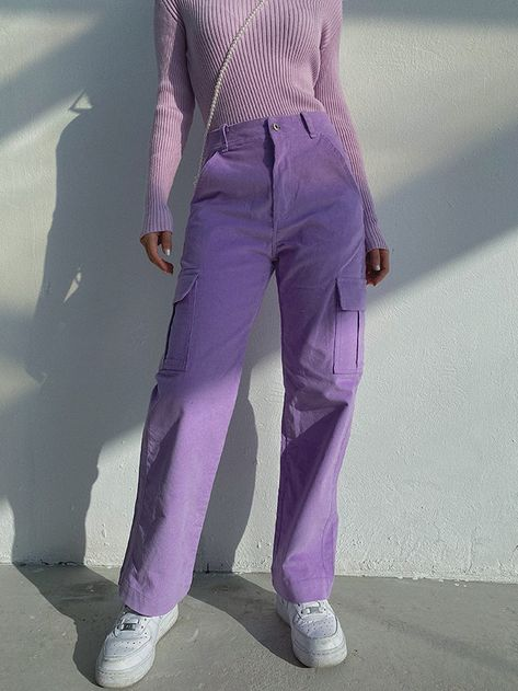 Purple Outfits, Indie Outfits, Teen Fashion Outfits, Cute Casual Outfits, Retro Outfits, Fashion Pants, Vintage Outfits, Purple Pants Outfit, Cargo Pants Outfit