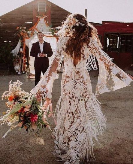 Wedding Dresses Boho Chic Hippie 64 Ideas Fringe Wedding Dress Bell Sleeve Wedding Dress Lace Dress Boho