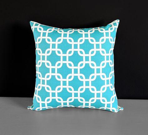 Cuscini Turchesi.Copertura Del Cuscino Turchese Blu Quadrati Geometrici Cuscini