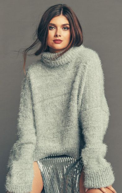 Long Sleeve Elle Boho Loose Fit One Size Pullover Knit Sweater