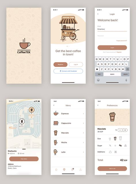 Coffee app design template for Sketch - Freebiesbug
