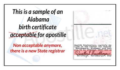 this is a sample of an Alabama birth certificate non acceptable - birth certificate sample