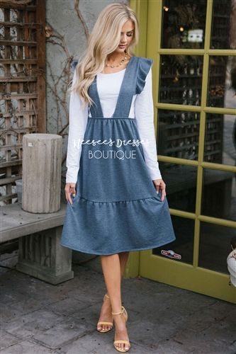 Dusty Blue Jumper Dress | Modesty fashion, Modest outfits