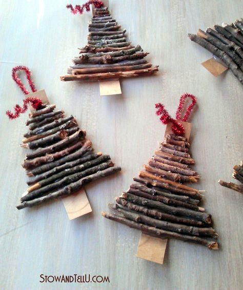Twig Christmas tree ornaments - cute!