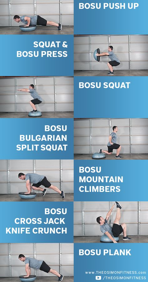 The BOSU ball is one of my favorite pieces of equipment to use at home. You can use either side of the BOSU to get an effective, challenging, full body workout. Swimming Workouts For Beginners, Beginner Workout At Home, Swimming Tips, Spin Bike Workouts, At Home Workouts, Gym Workouts, Cycling Workout, Cycling Tips, Road Cycling