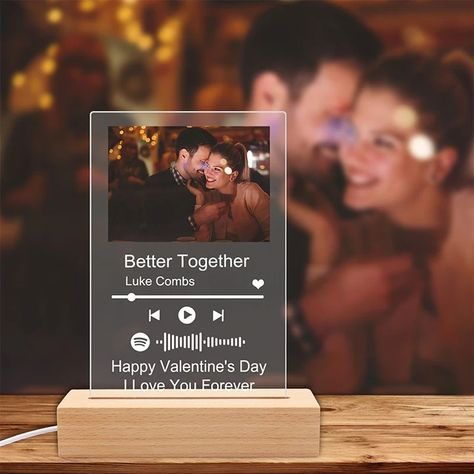 Custom Music Glass Art Night Light, Personalized Scannable Music Code Photo Plaque,Mother's Day,Father's Day Gifts