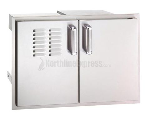 Firemagic Echelon Series 20 1 2 X 30 Double Doors With Tank Tray Louvers And Dual Drawers Outdoor Kitchen Cabinets Double Doors Locker Storage