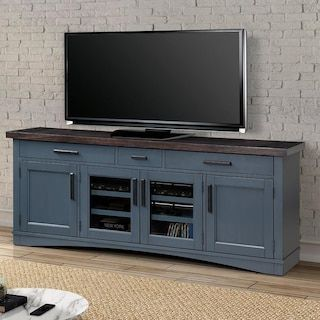 Simeon Collection Americana Modern 76 Tv Console In Denim Nfm In 2021 Blue Tv Stand Living Room Tv Stand Tv Unit Decor
