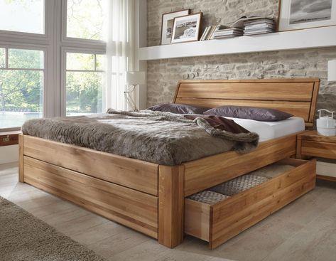 Massivholz Schubladenbett 180x200 Holzbett Bett Eiche massiv geölt - schlafzimmer komplett massiv