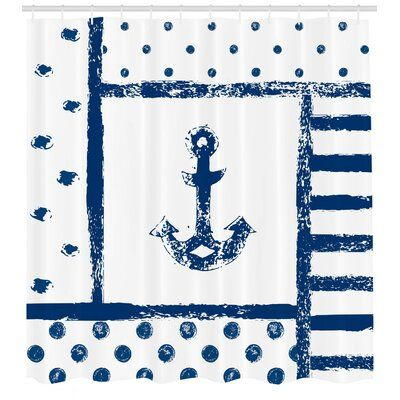 East Urban Home Anchor Shower Curtain Set Hooks In 2020 Anchor