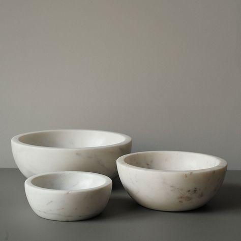 White Marble Bowls Kitchen Pinterest
