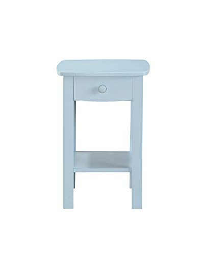 Light Blue Nightstand With Open Shelf And Wood Hardware 1 Drawer Country Style Bedside Table Durable Bedroom Blue Nightstands Home Decor Lights Home Decor