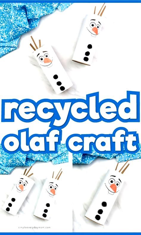 This recycled toilet paper roll craft for kids is a super simple and easy winter activity for kids excited about Frozen 2! Its great for both boys and girls and comes with a free printable template which makes it easy for toddlers, preschool, pre k and kindergarten children. Make it at home, at school, at daycare or the library! #simpleeverydaymom #kidscrafts #craftsforkids #disney #disneycrafts #disneykids #frozen #frozen2 #olaf #toiletrollcrafts #toiletpaperrollcrafts #toddlers #preschool