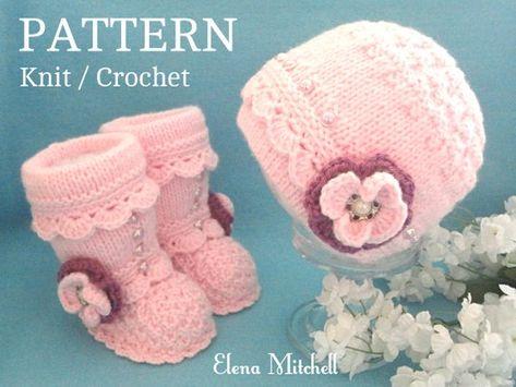 Knitting Pattern Baby Girl Baby Hat Baby Booties Baby Beanie Baby