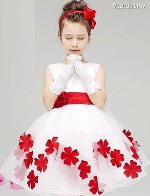 Vestidos Ropa de Moda Para Niña Elegantes Casuales sin mangas Blancos Rojos