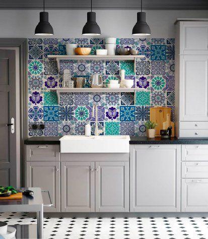 Briketo Marina Decorative Tile Stickers Set 12 Units 6x6 Inches Peel Stick Adhesive Vinyl Tiles Backsp Vinyl Wall Tiles Kitchen Style Decorative Backsplash