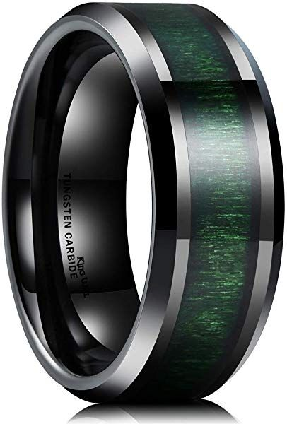 King Will Nature 8mm Mens Black Tungsten Carbide Wedding Ring